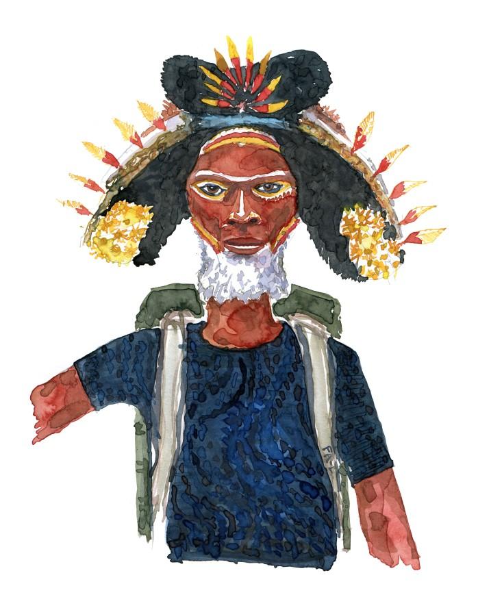 Mand med rygsæk og hvidt skæg. og hat med fjer. Akvarel af Frits Ahlefeldt, naturvandreserien