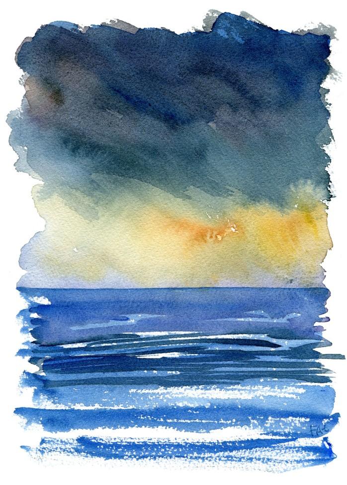Himmel og hav - Original Akvarel af Frits Ahlefeldt - Himmel og hav vandring