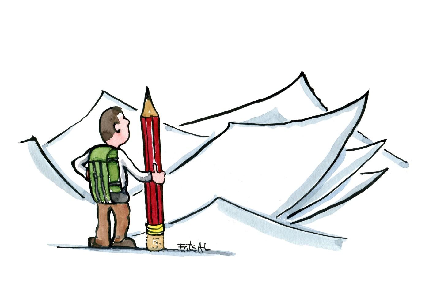 Tegning af vandrer med blyant foran et landskab af blankt papir. Illustration Frits Ahlefeldt