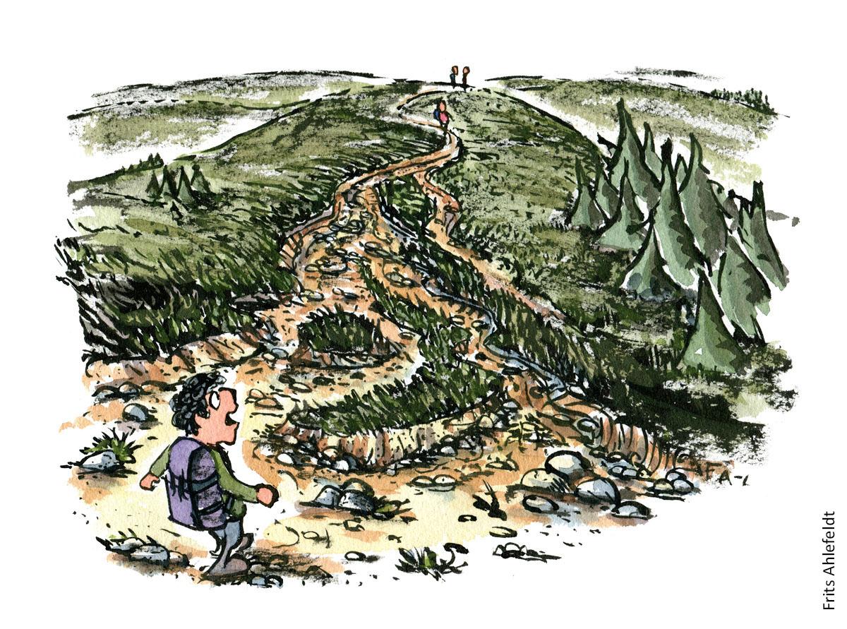 Illustration af vandrer som står ved sti der er eroderet. vandrestier design og vedligeholdelse. Tegning af Frits Ahlefeldt