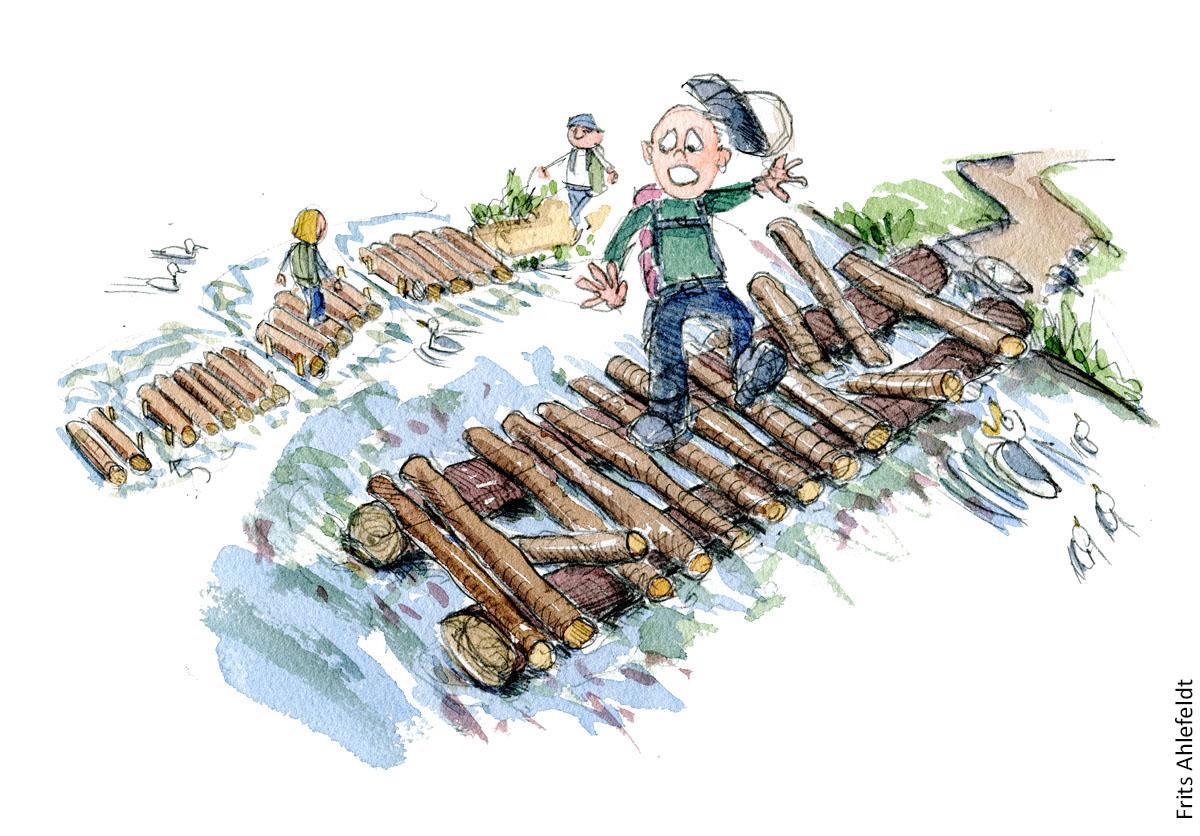 Vandrer som glider på træstamme sti i et vådområde. vandrestier design og vedligeholdelse. Tegning af Frits Ahlefeldt