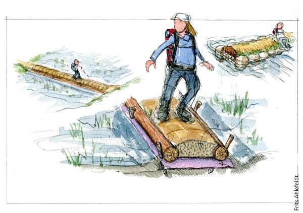 illustration af en vandrer på en hævet sti, gennem et vådområde. Stidesign tegning af Frits Ahlefeldt