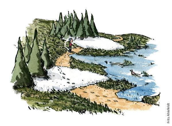 Vandrer der går langs sti som er delvist blokeret af sne og oversvømmelser. vandrestier design og vedligeholdelse. Tegning af Frits Ahlefeldt