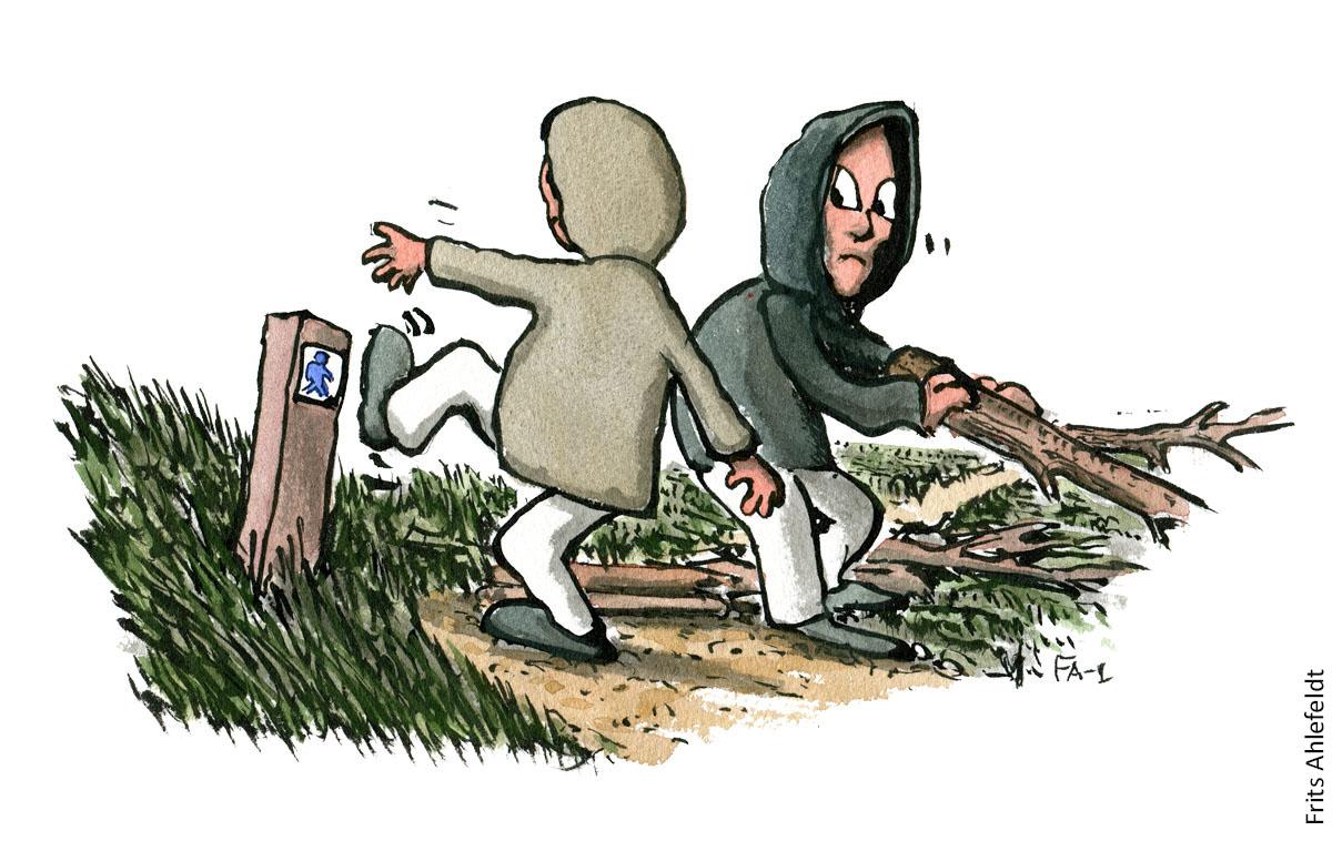 To hætteklædte figurer som laver hærværk langs vandresti. vandrestier design og vedligeholdelse. Tegning af Frits Ahlefeldt