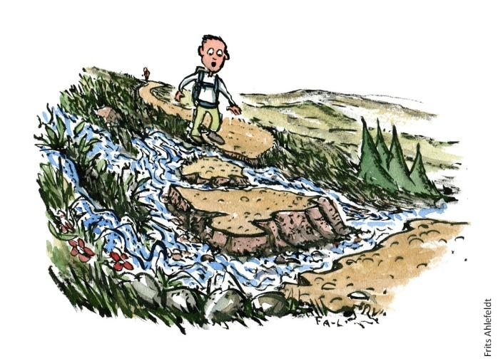 Vandrer som står på en sti der er ved at blive skyllet væk af et vandløb. vandrestier design og vedligeholdelse. Tegning af Frits Ahlefeldt
