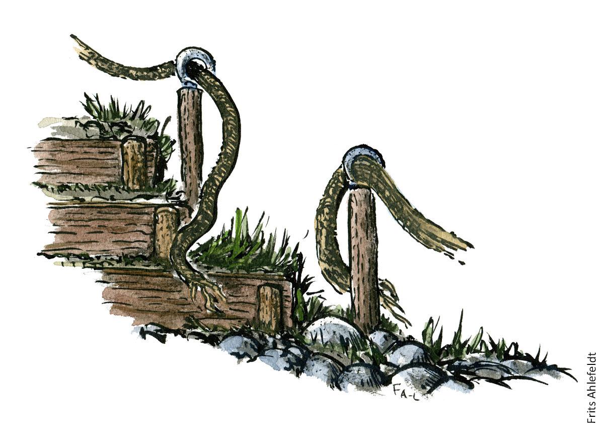 illustration af et tov gelænder langs en trappe. vandrestier design og vedligeholdelse. Tegning af Frits Ahlefeldt
